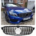 Nieren Grill Kühlergrill Mercedes C Klasse W205 360° Schwarz Chrom